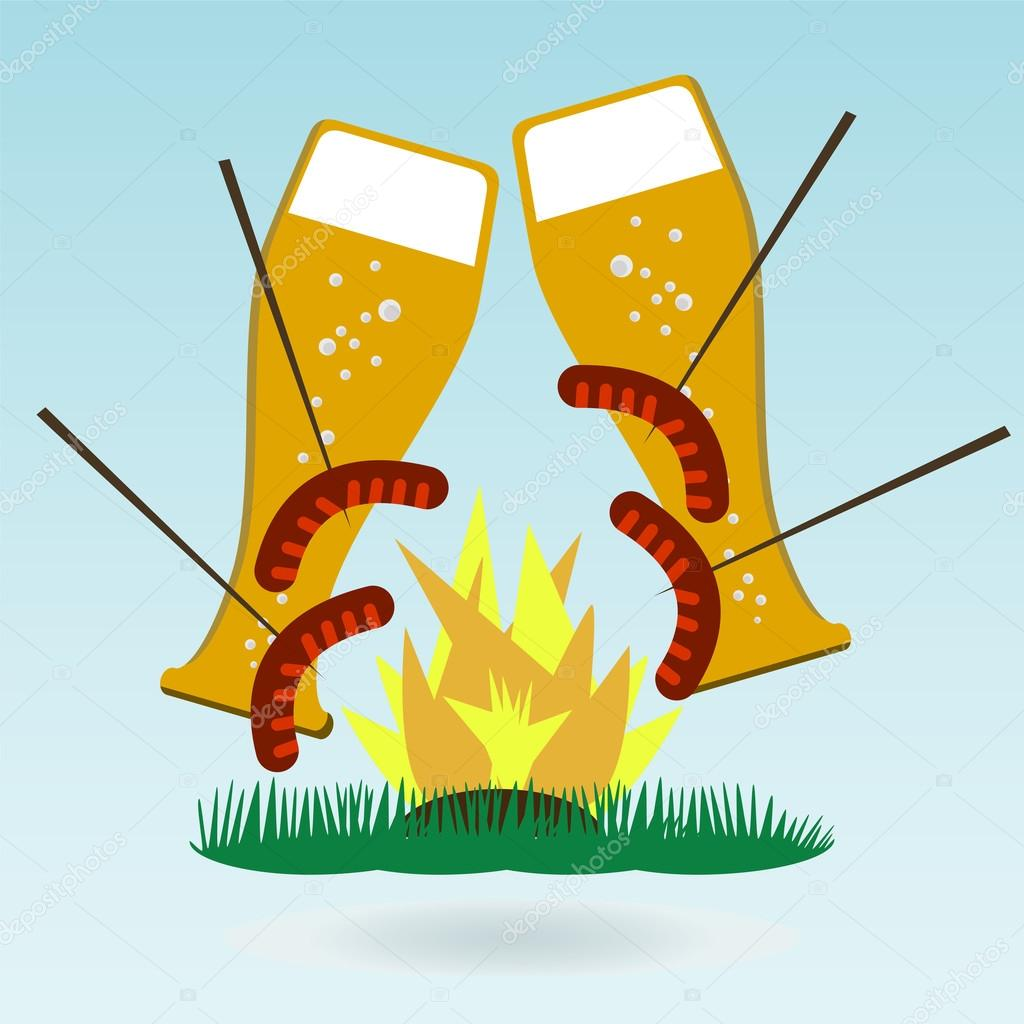 Grilled sausages on forks, beer, fire. Grass concept.