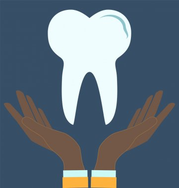 Tooth in doctor hands, pictogram icon. Medical concept.
