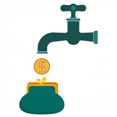 Money coins fall out of golden faucet in wallet or purse
