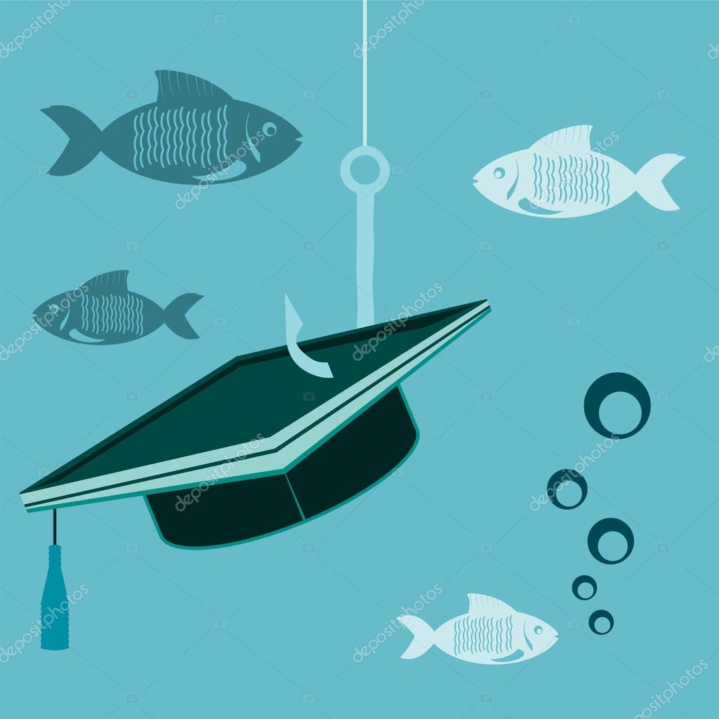 Afgestudeerde Hoed Op Een Haak Met Visserij Met Vis Onder Water