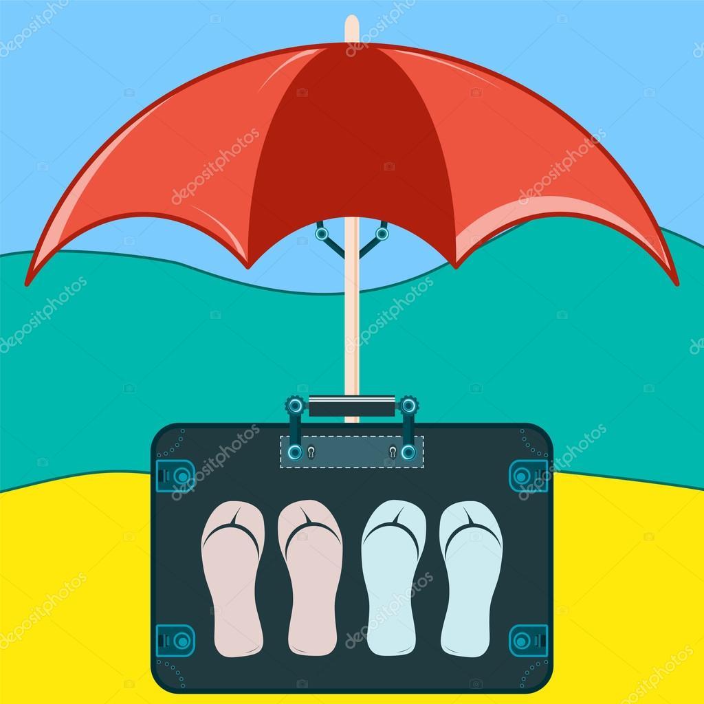 Koffer Reisen Mit Pantoffeln Unter Einem Sonnenschirm Stockvektor