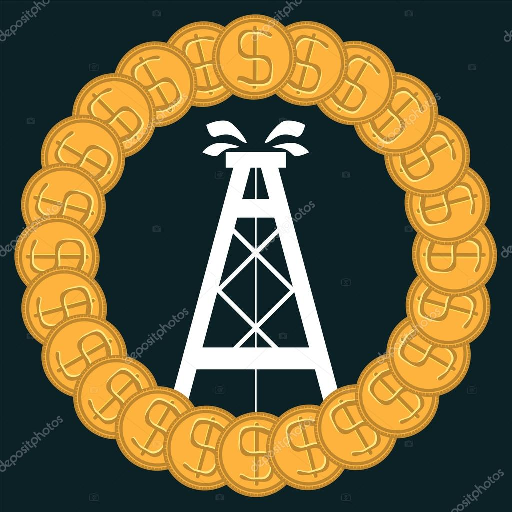 Oil Rig In The Circle Of Gold Dollar Coins The Oil Market The