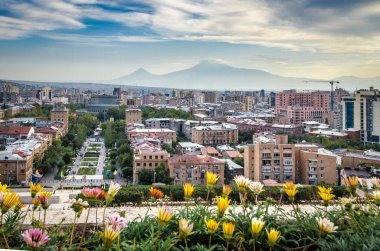view of the city of Yerevan and Mount Ararat from Cascade, Armenia
