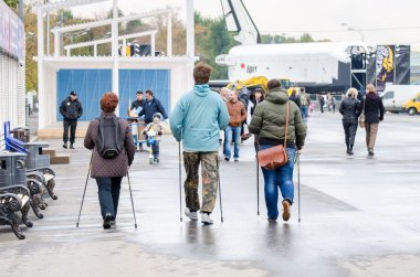 People involved in Nordic walking in the park