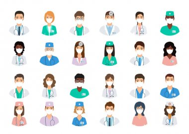 Doctors and nurses avatars in medical masks. Set of medicine employee faces. Group men and women portfolio avatars isolated on white background. Vector illustration. Healthcare concept. Hospital staff icon