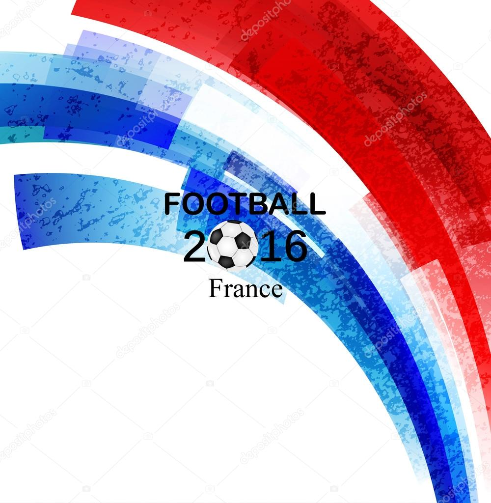 Euro 2016 France football championship with ball and france flag  Vector
