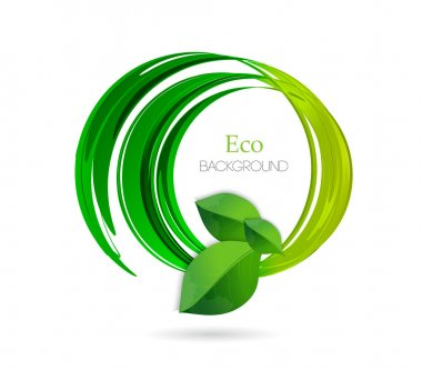 Nature vector logo design template. Ecology or bio icon.Green earth labels concept with leaves