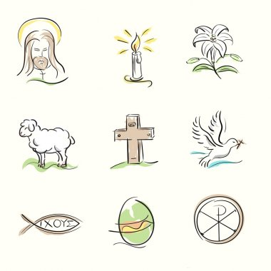 Set of Easter Christian symbols and spring hand drawn illustrations