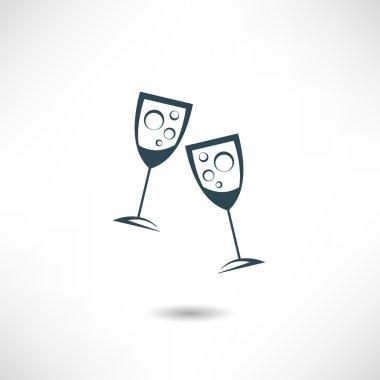 Glasses of champagne icon