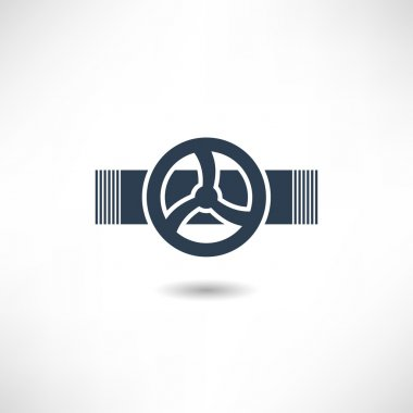Valve on pipe icon