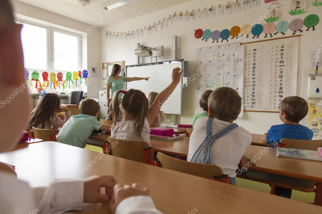 Lesson in primary school classroom