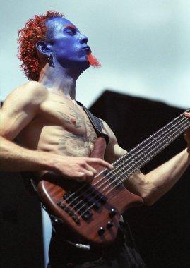 DENVERJUNE 21:Ryan Martine of Mudvayne performs June 21, 2001 at Mile High Arena in Denver, CO
