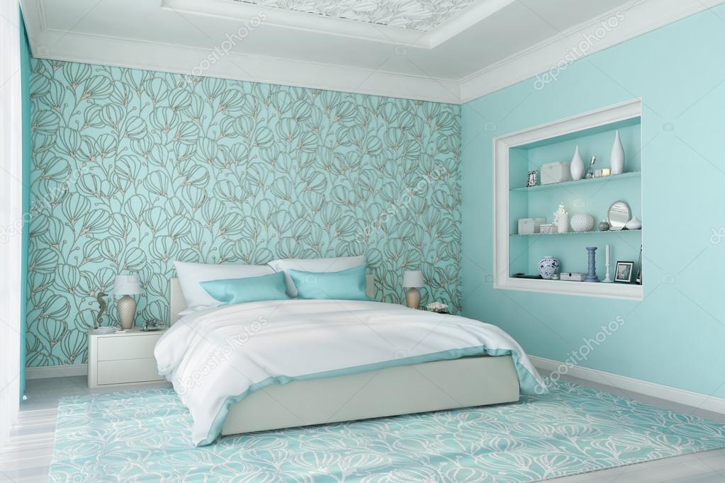 3d rendering van moderne slaapkamer in blauw foto van gamespiritlife