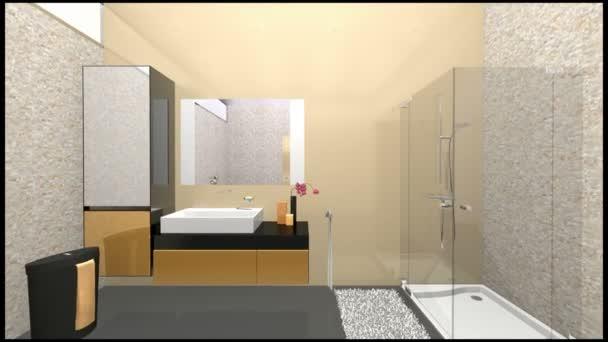Badezimmer In Grau Beige U2014 Stockvideo