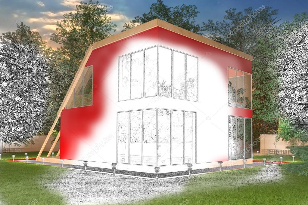 Rode tekening huisje met verlichting — Stockfoto © gamespiritlife ...