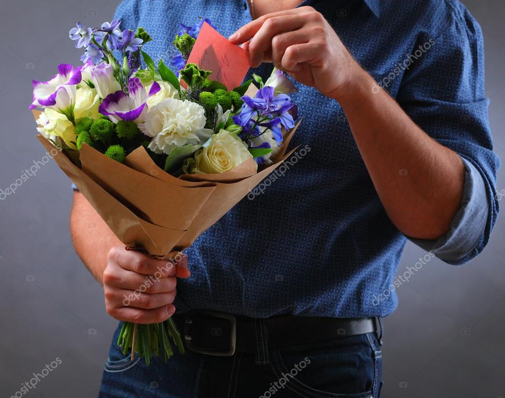 Mazzo Di Fiori X Uomo.A Man With A Blue Bouquet Stock Photo C Successchizhova 90226288
