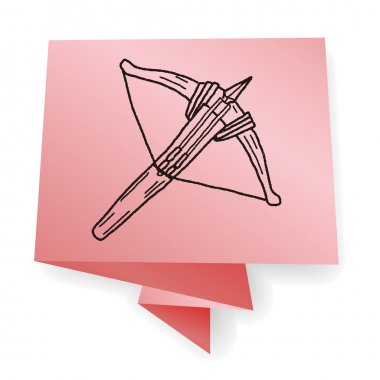 Crossbow doodle vector illustration