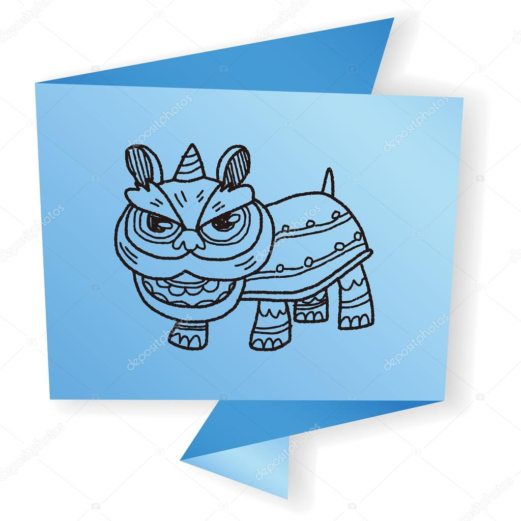 chinese new year the dragon and lion dancing head doodle vector illustration stock vector