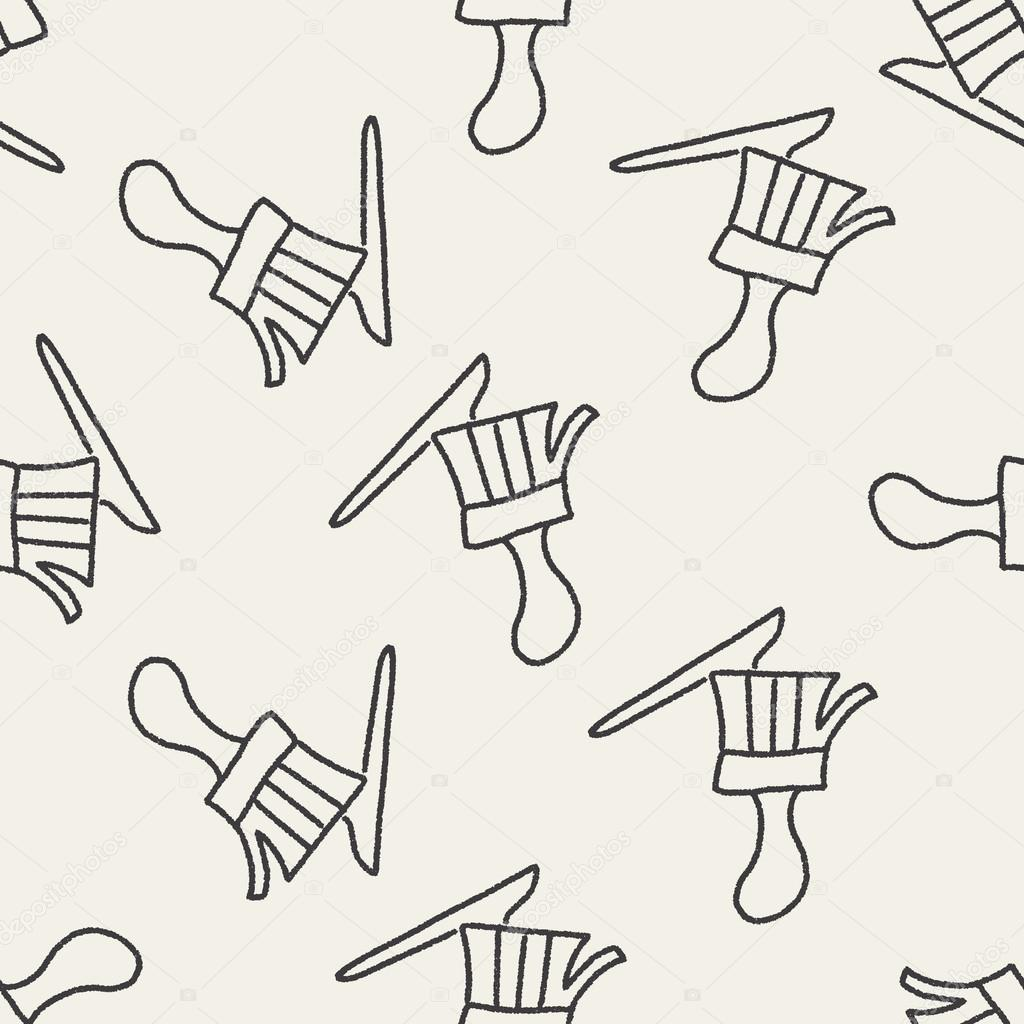 kwast doodle tekening naadloze patroon achtergrond