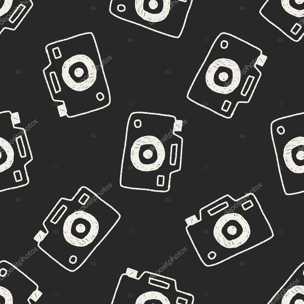 Camera Doodle Drawing Seamless Pattern Background Stock Vector 68238425