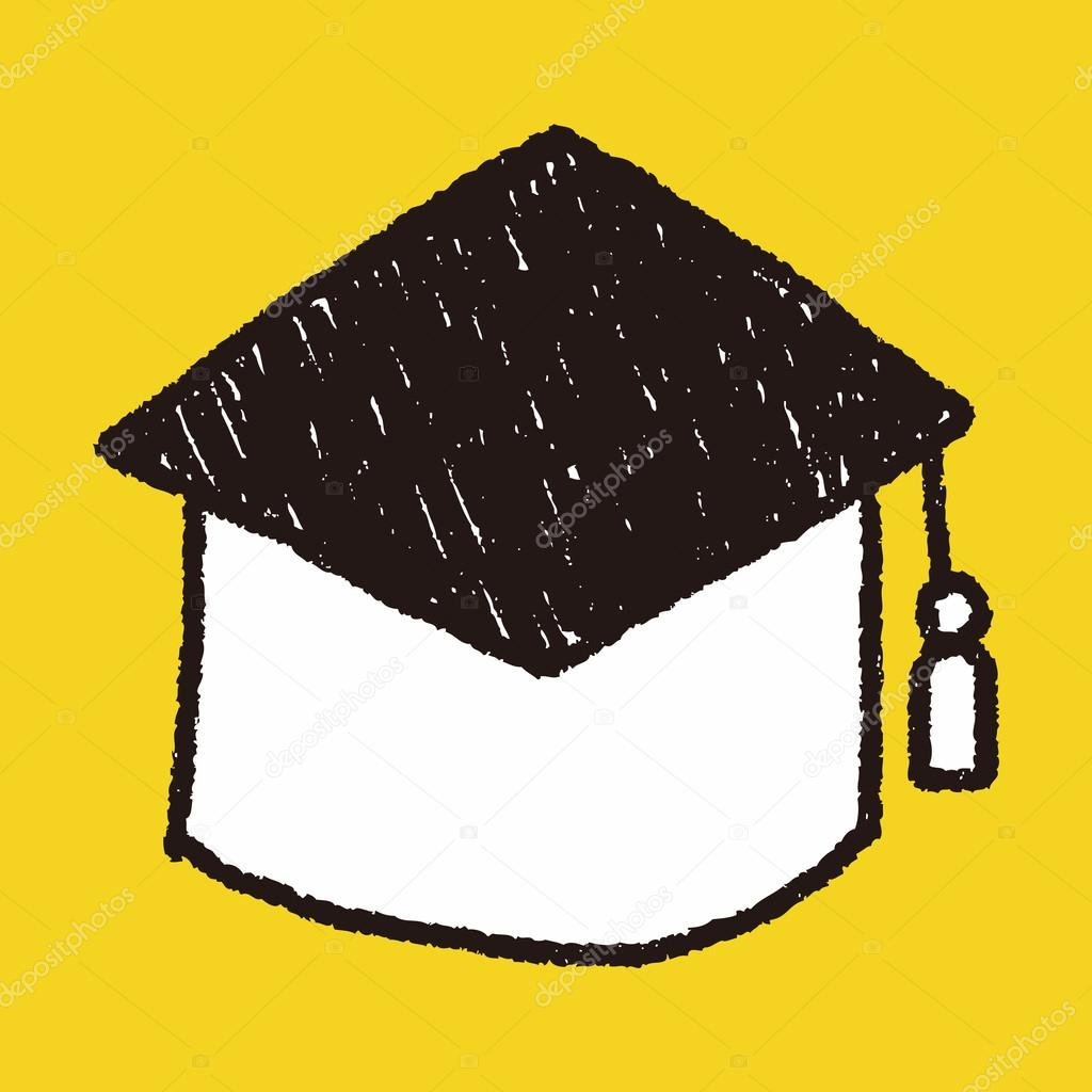 Graduation cap doodle drawing — Stock Vector © hchjjl #71405289