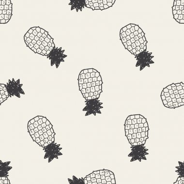 pineapple doodle seamless pattern background