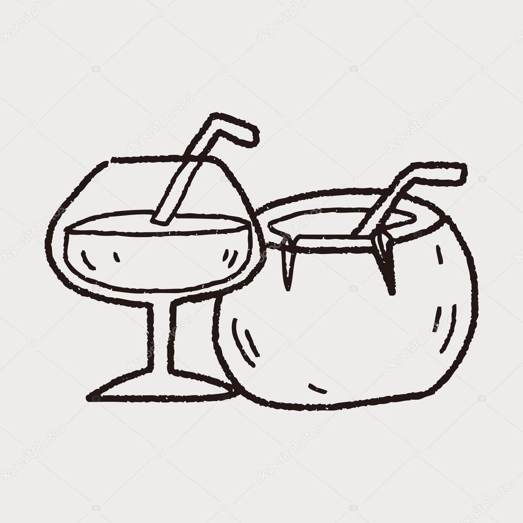 Coconut Drink Doodle Stock Vector
