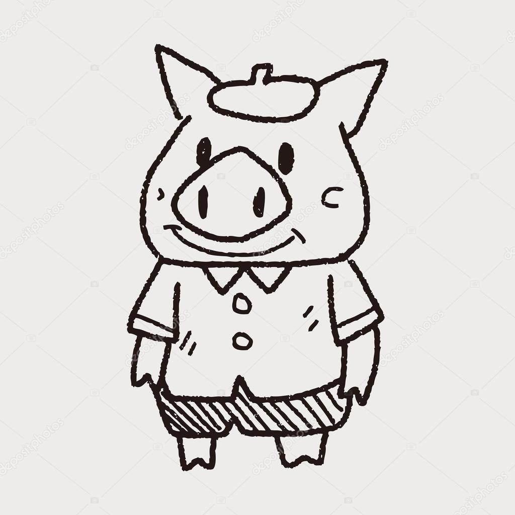 drei kleinen Schweinchen Gekritzel — Stockvektor © hchjjl #72728903