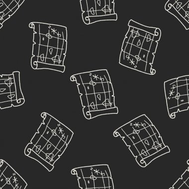 Treasure Map doodle seamless pattern background