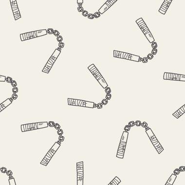 nunchaku doodle seamless pattern background