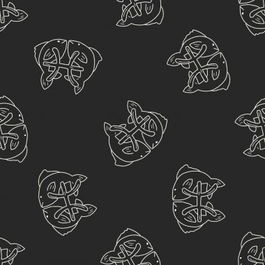 pisces Constellation doodle seamless pattern background