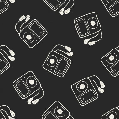 mp3 player doodle seamless pattern background