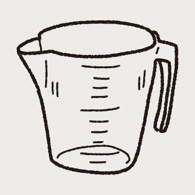 Measuring cup doodle clip art vector