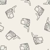 Photo truck doodle seamless pattern background