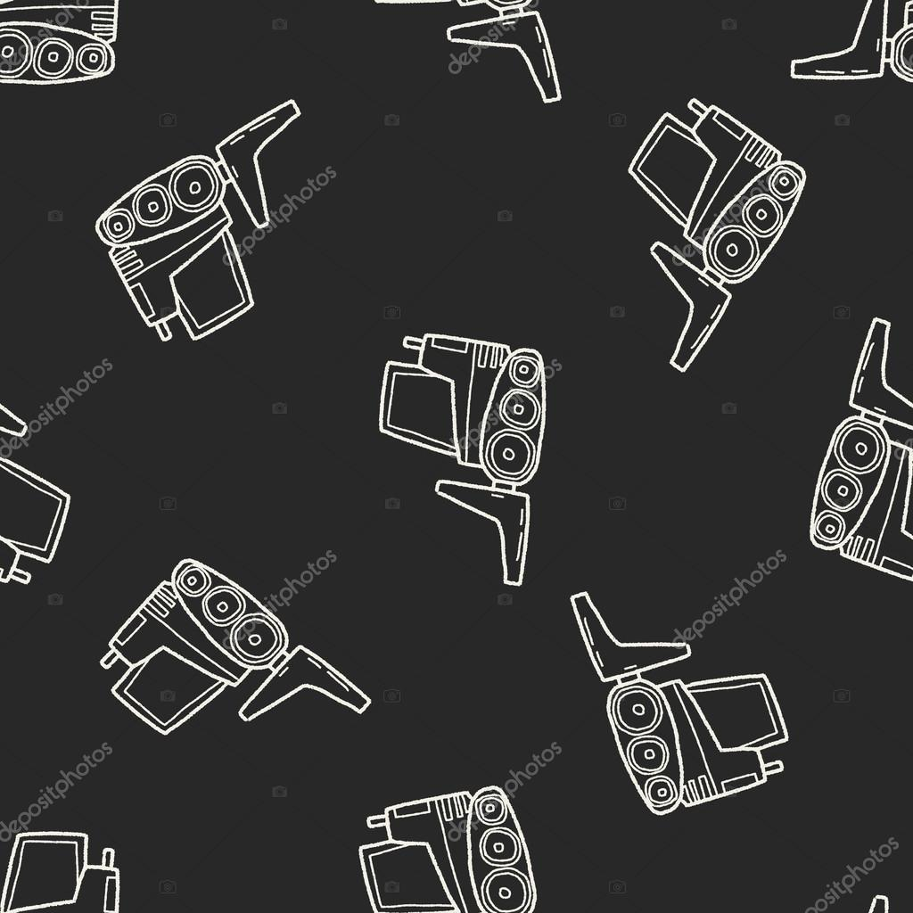 truck doodle seamless pattern background