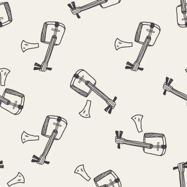 Banjo doodle seamless pattern background
