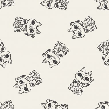 Lucky Cat doodle seamless pattern background
