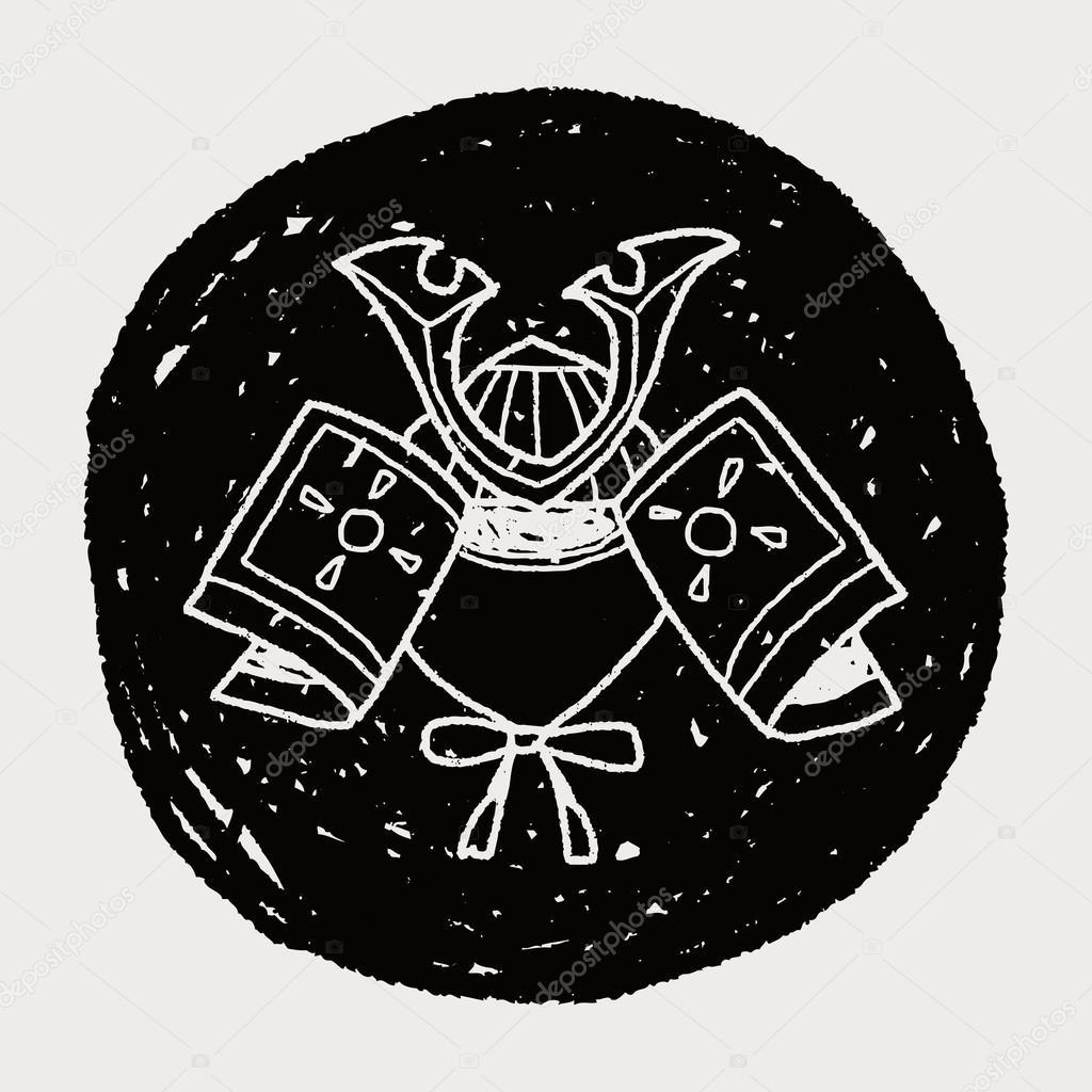Dibujos Cascos Samurais Doodle De Casco Samurai Vector De Stock