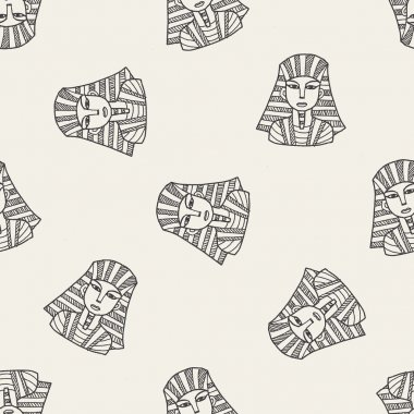 pharaoh doodle seamless pattern background