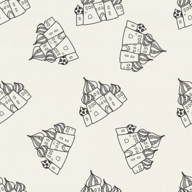 russia castle doodle seamless pattern background