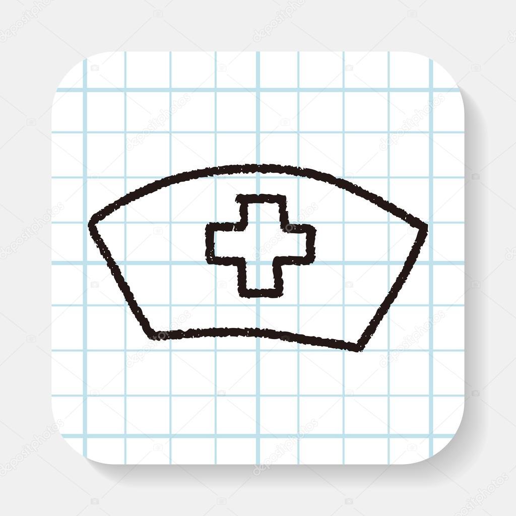Hemşire şapka Doodle çizim Stok Vektör Hchjjl 82427220