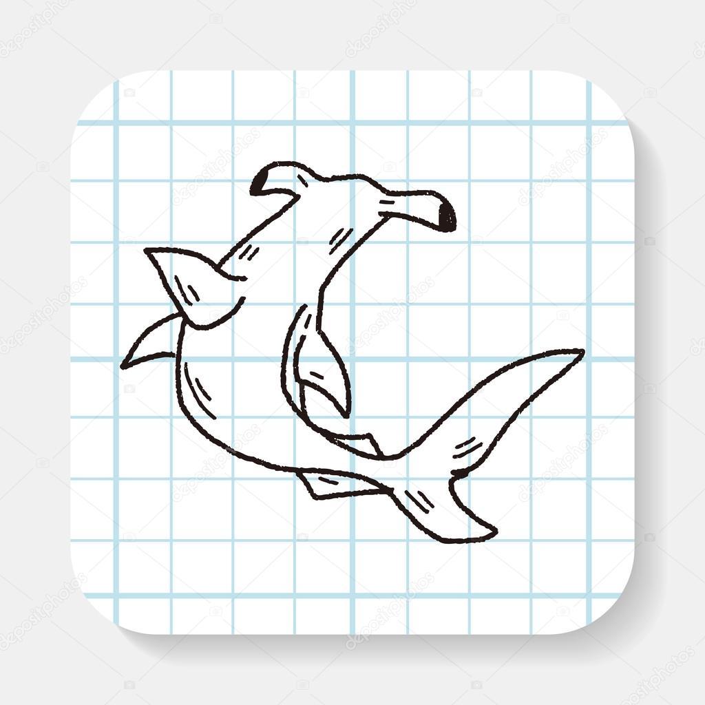 doodle de tiburón cabeza de martillo — Archivo Imágenes Vectoriales ...