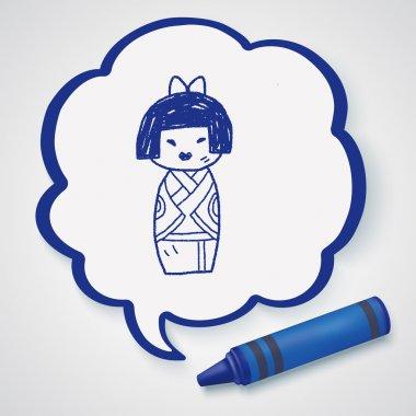 Japanese doll doodle icon element