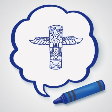 Totem Pole doodle icon element