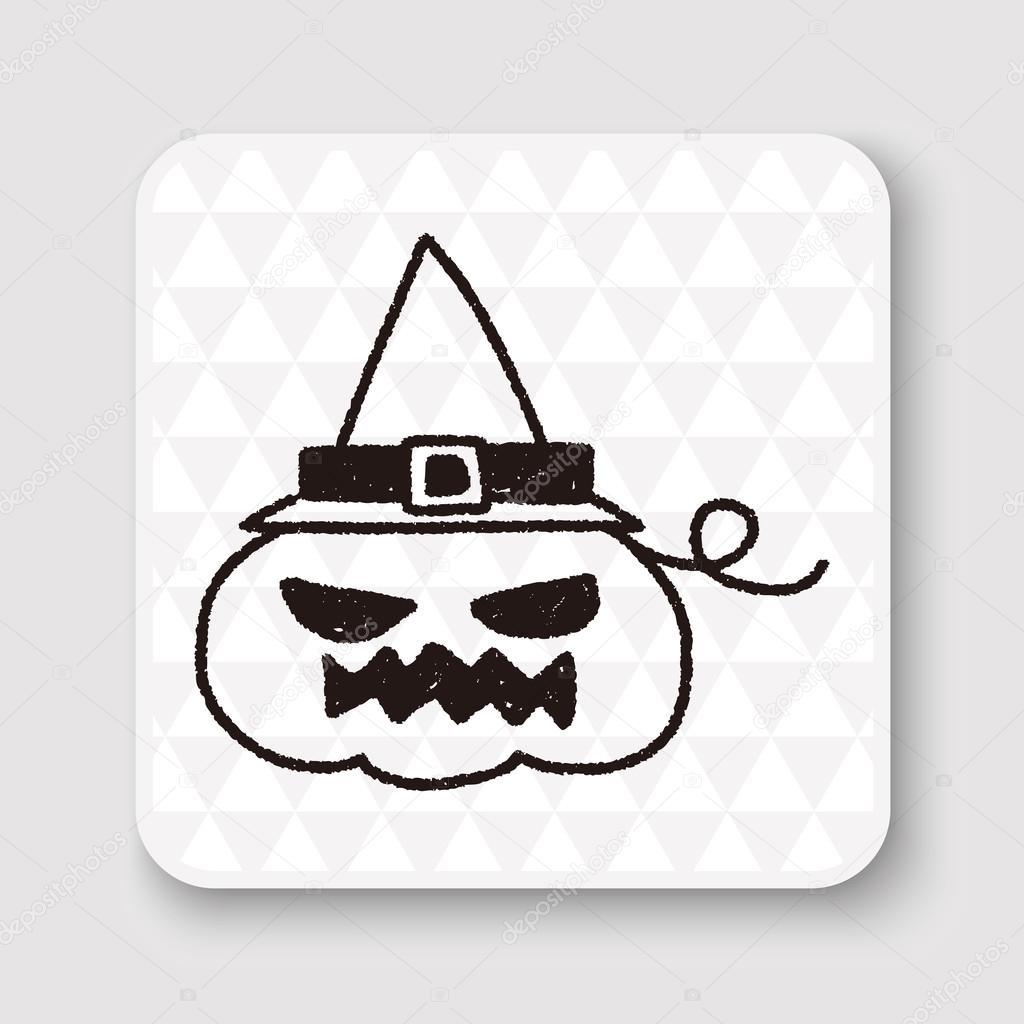 Halloween Tekeningen Pompoen.Halloween Pompoen Doodle Tekening Vectorillustratie