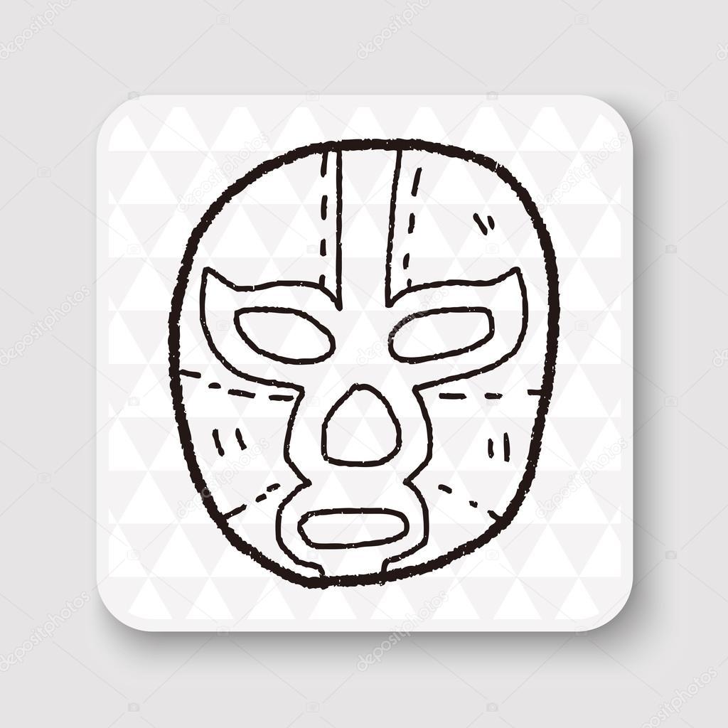 Illustration Vectorielle De Lutteur Mexicain Masque Doodle