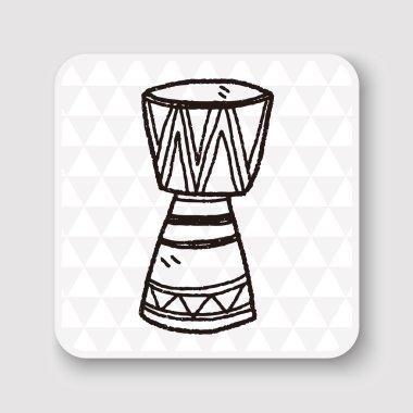 African drum doodle vector illustration
