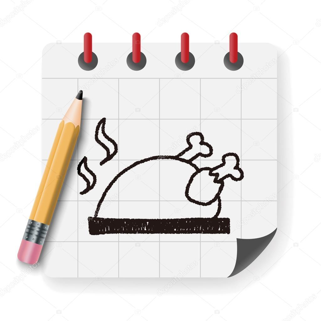 Poulet r ti doodle dessin illustration vectorielle image vectorielle hchjjl 97777252 - Dessin de poulet roti ...