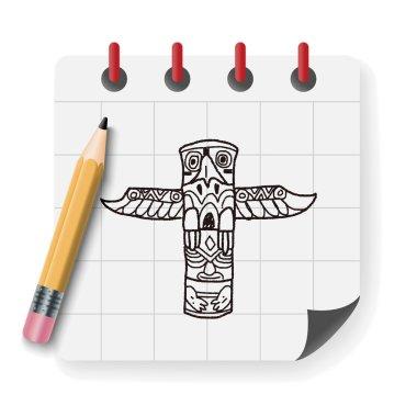 Totem Pole doodle vector illustration