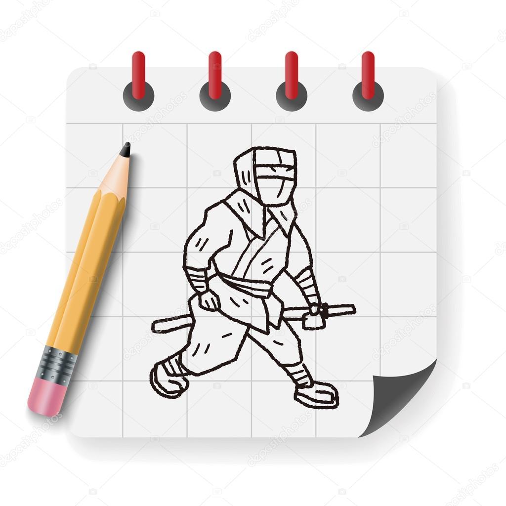 Dibujos Guerreros Samurais A Lapiz Ilustración De Vector De